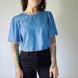LOVERS + FRIENDS Tencel Chambray Cropped Top